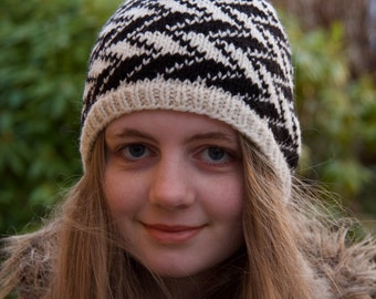 Hand knitted wool hat for women - Nordic Winter hat, Nordic Fair Isle hat, Black and White knit hat, Gift for women, gift for her