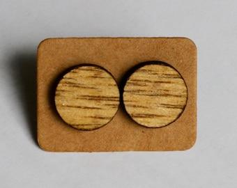 Plywood Circle Laser Cut Stud Earrings
