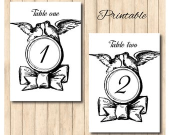 Printable table numbers, vintage lovebirds, wedding table, anniversary, special occasion