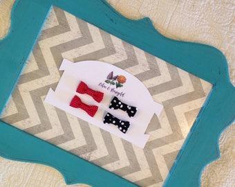 Mini tuxedo bows, tuxedo bow clips, tuxedo bow headbands, newborn headband, fabric bow, red and white polka dots, black and white polka dots