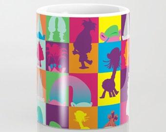 trolls poppy branch creek pattern multicolored pattern, mug