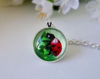 Ladybird Necklace ~ Handpainted Cabochon ~ Made in Wales