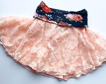 3T Girls Skirt, Lace Skirt, Summer Skirt, Spring Skirt, Toddler Skirt, Peach Lace Skirt, Coral Skirt