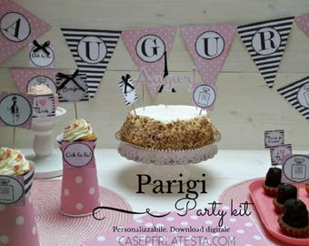 Party theme kits Paris. Birthday party. Customizable