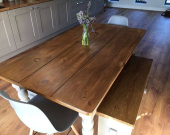 Farmhouse planked table, chairs and benches.