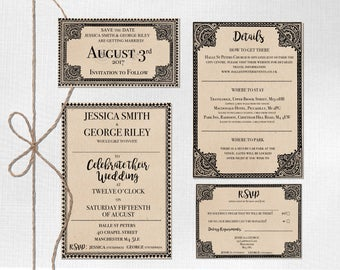 printable downloadable fully customisable personalised wedding invite stationery set suite subtle harry potter theme - Harry Potter Wedding Invitations