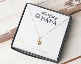 Paw Print Necklace, Fur Baby Mama, Dog Lover Necklace, Cat Lover Gift, Animal Lover, Paw Necklace