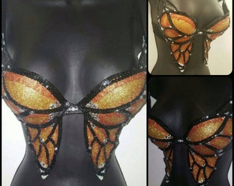 Orange, Gold, Yellow, and Black monarch butterfly glitter crystal rhinestone & sequin bra top!