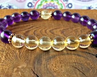 A Grade Amethyst & Citrine Bracelet, Wrist Mala Beads, Yoga Gift, Healing Crystals, Chakra Bracelet, Happiness - Protection - Abundance