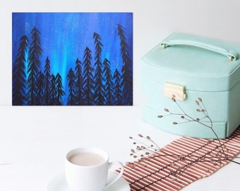 Small Painting- Canvas Art - Blue Painting- Northern Lights Art - Aurora Borealis Painting - 8 x 10 Painting - Sky Painting Landscape Art