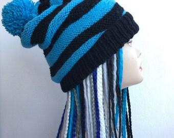 Cappello Pon Pon a righe orizzontali 100% lana handmade || Hat Pon Pon wool