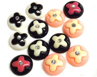 15pcs  15mm / Mix Color Round with Gem Flatback Resin Button/Cabochon/Bead