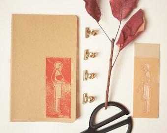 Book traveler Moleskine 13 x 21 cm cover kraft linograve