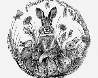 Artprint Rabbits, Easter bunny, Spring, 300g paper
