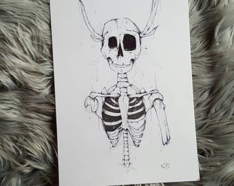 A4 pen and ink drawing. Skeleton drawing. Skull art. Original pen and ink. Gothic art.