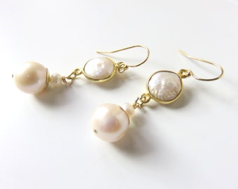 Gold Pearl Drop Earrings, White Freshwater Pearls, Coin Pearls in Gold Vermeil, Pearl Bridal Earrings, White and Gold Dangles