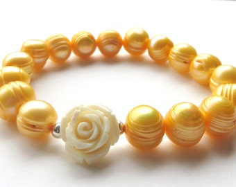 Golden Yellow Pearl Bracelet, Ivory Rose and Freshwater Pearls, Victorian Stretch Bracelet,Mother of the Bride Groom, Wedding Jewelry