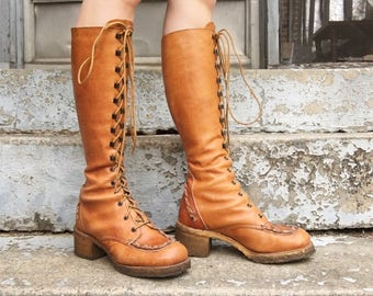 Vintage 70s Zodiac Light Honey Brown Marbleized Braided Leather + Rubber Soles Heeled Tall Lace Campus Boots 6.5