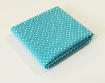 White Dot on Aqua Fabric - Aegean Blue with Pearl White Polka Dot on Premium Quilting Cotton by the Yard