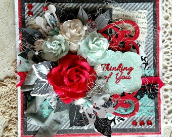 Beautiful Handmade Red Shabby Chic Thinking of You Greeting Card #WC2017S