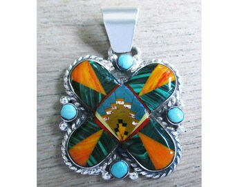 Terrific Inlay Sterling Silver Pendant