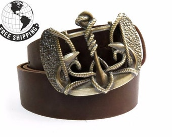 "Genuine leather belt with solid brass buckle ""Anchor Trident"" 