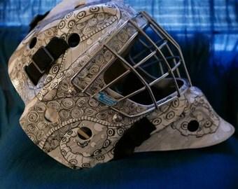 Custom hand drawn hockey helmet/ mask