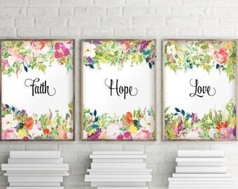 Nursery print set, Baby girl nursery, Nursery decor, Nursery art, Print set, Set of 3 prints, Watercolor art, Faith Hope Love sign, BD-1085
