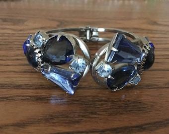 Juliana D&E Shades of Blue Rhinestone Clamper Bracelet 1159