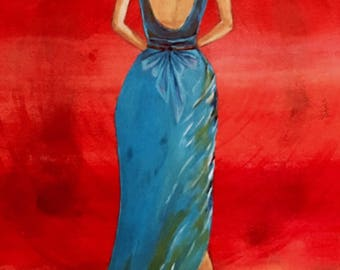 "Canvas print of Acrylic Painting ""Dress Up"""