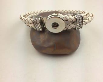 White Braided Snap Bracelet