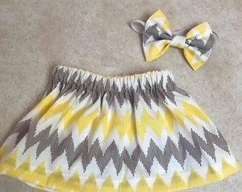 Chevron skirt set brown and yellow