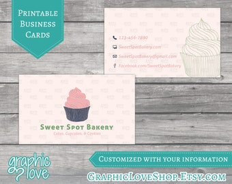 Printable Cupcake/Bakery Double Sided Business Cards | Digital JPG, PNG & PDF Files