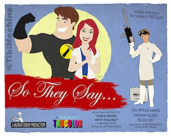 """Dr. Horrible's Sing-Along Blog Art Print - """"So They Say..."""" Faux Rom-Com Lobby Card"""