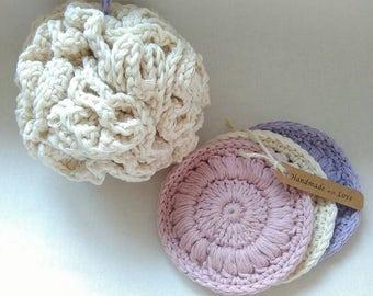 Crochet bath set, Bath pouf and facescrub, organic cotton gift set