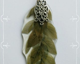 Pendant with a sprig of the plant - Silver plated pendant - Green pendant - pendant length