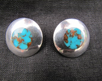 Vintage sterling silver and turquoise post earrings