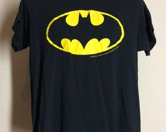 Vtg 80s Screen Stars 50/50 Batman Logo T-Shirt Black M/L DC Comic Books