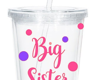 Personalized Big Sister Tumbler, Pregnancy Reveal, Big Sister Gift, New Big Sister, Baby Shower, Sibling Gift, Personalized Tumbler
