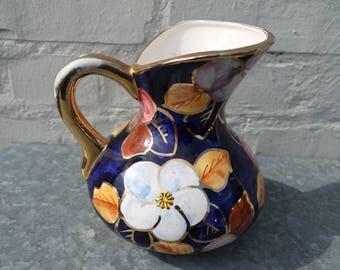 Vintage 50s France royal blue and flowers water pitcher/jar/jug