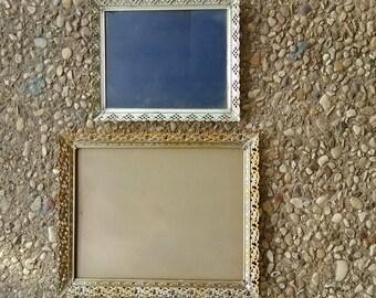 Two (2) Vintage Gold Filigree Picture Frames