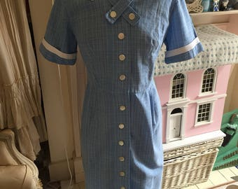 1950s blue cotton fitted dress