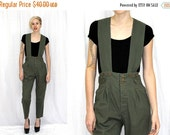 Mid Winter Sale Vintage 80s 90s Army Green HIGH Waist Suspender Retro Dress JUMPSUIT Romper SM