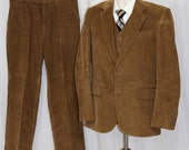 On Sale Vintage 70s 80s Tan Corduroy 3 Pc Mens Retro SUIT Jacket Pants Vest S 30x32