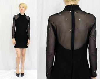 Vintage 80s 90s Black BODY CON Fitted Mesh Rhinestone MINI Retro Party Dress S M