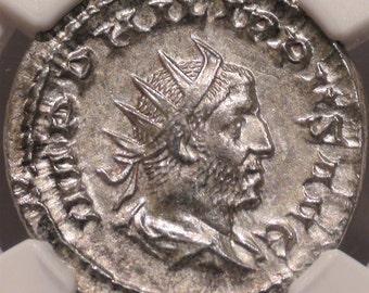 Ancient Roman Empire 244-249 AD, Antique Silver Coin of Roman Emperor Philip I, NGC AU