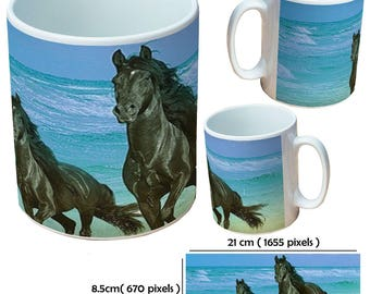 Horse gallop in sea black and brown with beautiful mane animal picture mug cup as a special custom gift for a friend, family or colleague