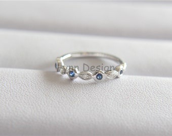 Gemstone Band Alternating Diamond Sapphire Wedding Band Ring Half Eternity Ring Promise Stack Ring Anniversary Ring