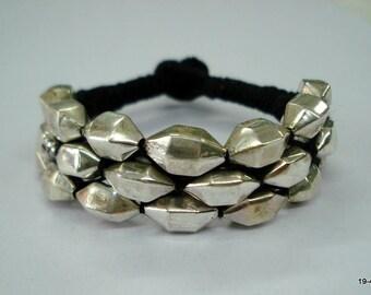 Vintage sterling silver bracelet silver beads bracelet handmade jewelry