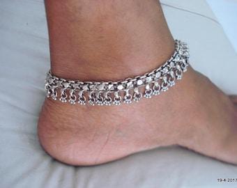 vintage antique ethnic tribal old silver anklet feet bracelet ankle chain